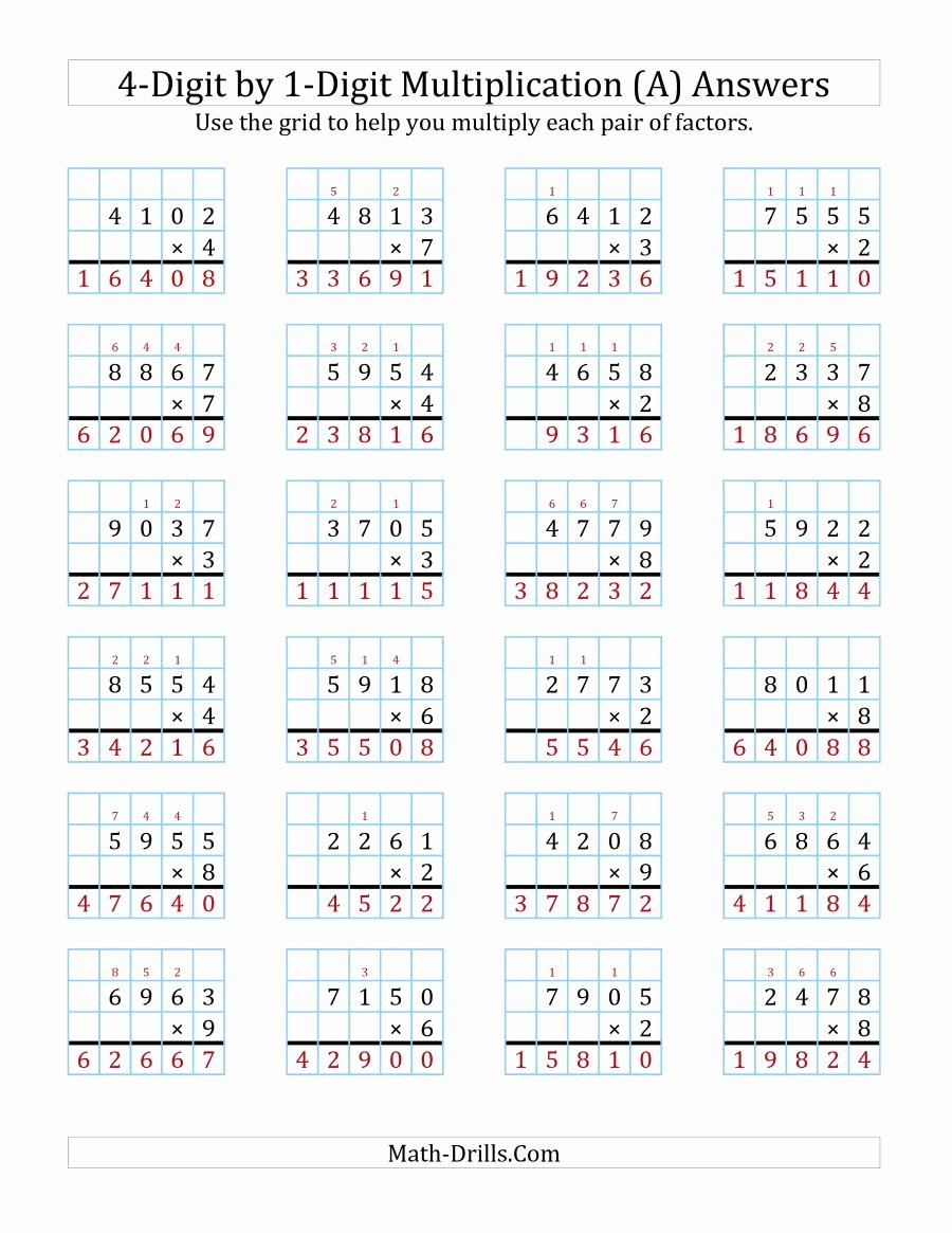Grid Multiplication Worksheets Best Of the 4 Digit by 1 Digit Multiplication with Grid Support A