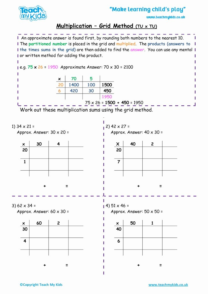 Grid Multiplication Worksheets Lovely Multiplication Grid Method Tu X Tu