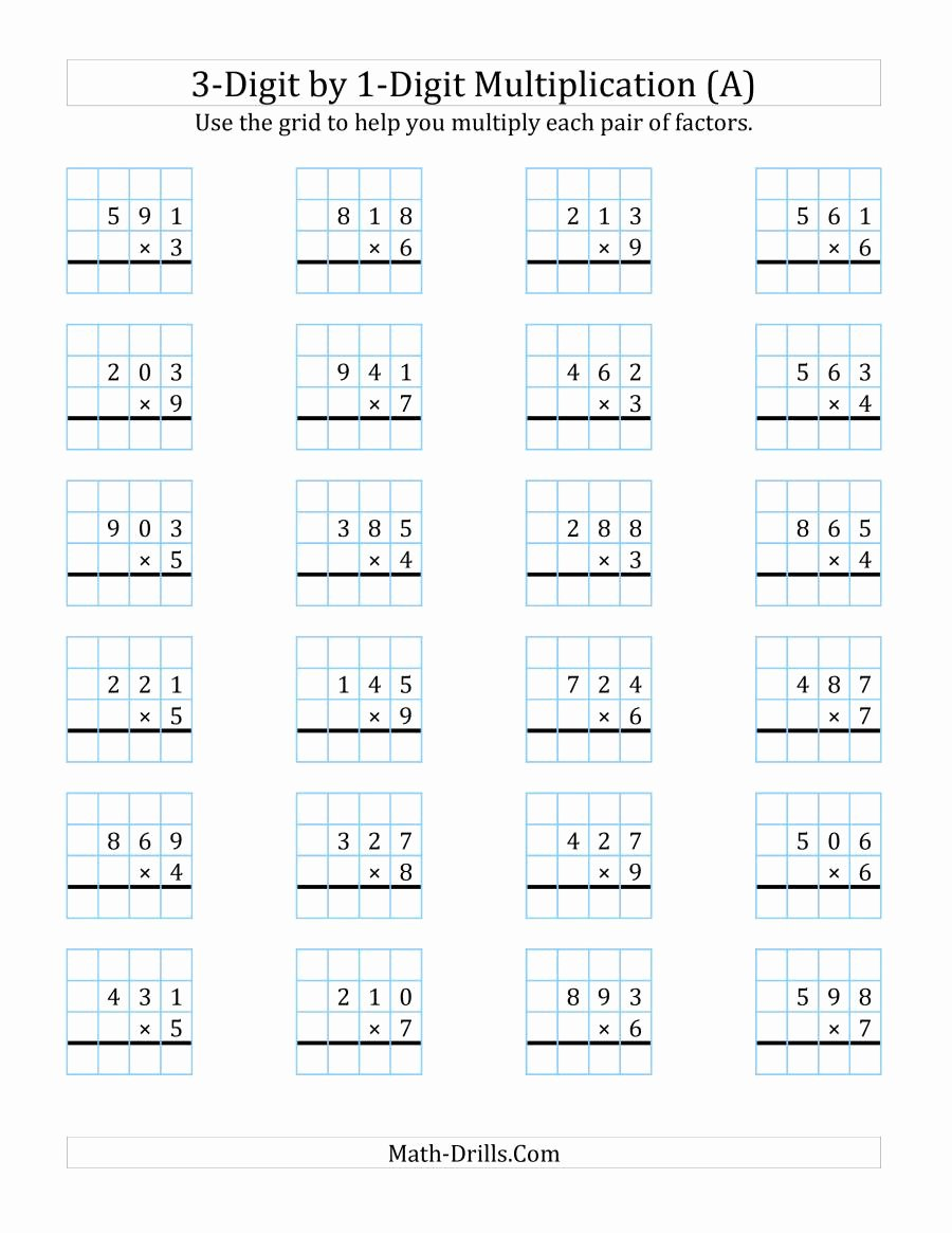 Grid Multiplication Worksheets top 3 Digit by 1 Digit Multiplication with Grid Support A