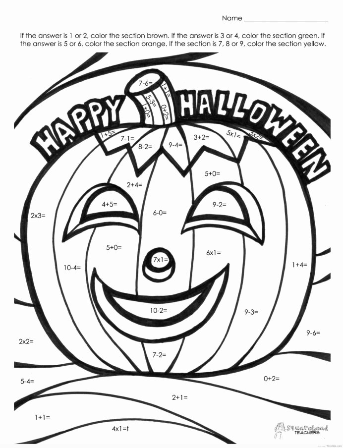 Halloween Multiplication Worksheets Awesome Halloween Multiplication Coloring Worksheet Math Color 2nd