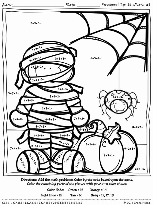 Halloween Multiplication Worksheets Unique Color by the Number Code Wrapped Up In Math Halloween
