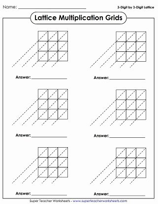 Lattice Method for Multiplication Worksheets Awesome Lattice Grid Printables Multiplication