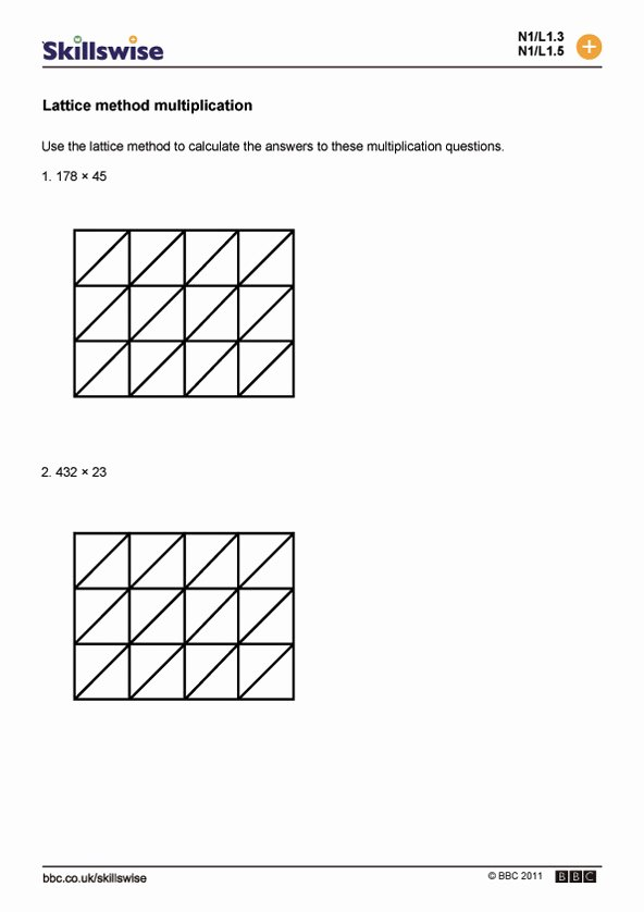 Lattice Method for Multiplication Worksheets Awesome Lattice Multiplication Worksheets and Grids Lattice