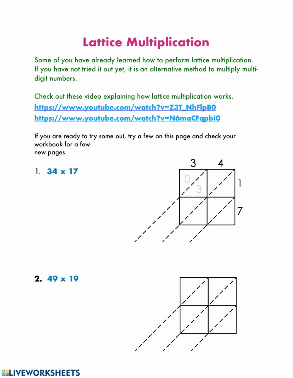 Lattice Method Multiplication Worksheets Awesome Lattice Multiplication Multiplication Worksheet