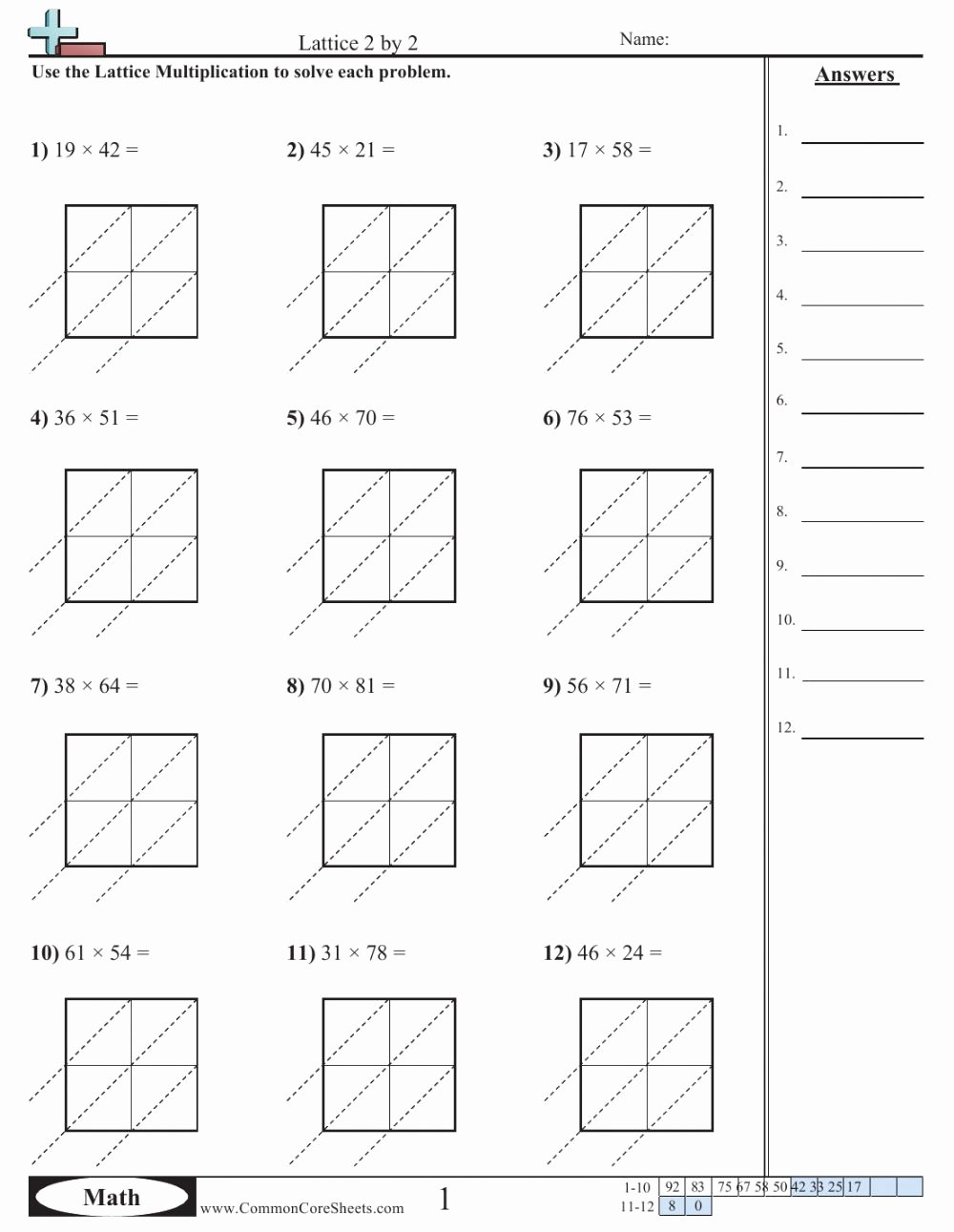 Lattice Multiplication Worksheets Best Of Lattice Multiplication 3 Interactive Worksheet