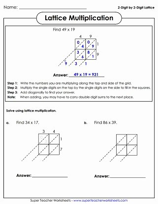 Lattice Multiplication Worksheets Inspirational Lattice Multiplication Worksheets