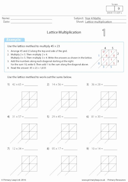 Lattice Multiplication Worksheets Inspirational Numeracy Lattice Multiplication 2 by 2 Digits 1