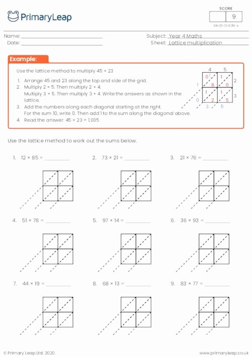 Lattice Multiplication Worksheets Inspirational Numeracy Lattice Multiplication 2 by 2 Digits 3