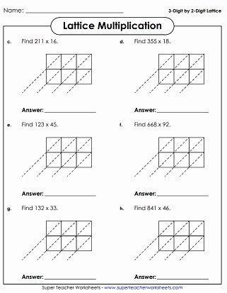 Lattice Multiplication Worksheets Unique Lattice Multiplication Worksheets