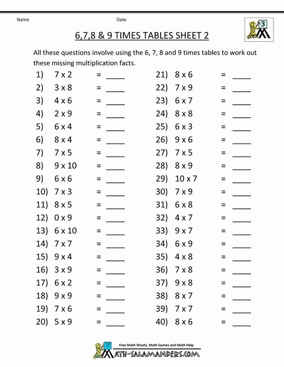 Learn Multiplication Worksheets Fresh Free Math Sheets Multiplication 6 7 8 9 Times Tables 2