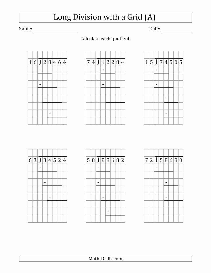 Long Division and Multiplication Worksheets Best Of 5 Digit by 2 Digit Long Division with Grid assistance and
