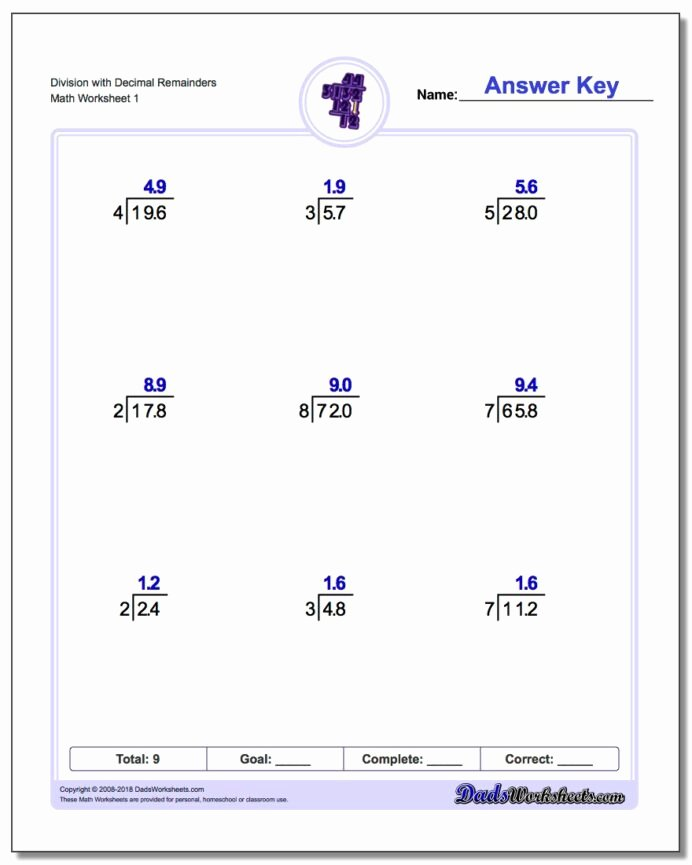 Long Division and Multiplication Worksheets Best Of Division Worksheets Math and Multiplication E Digit with