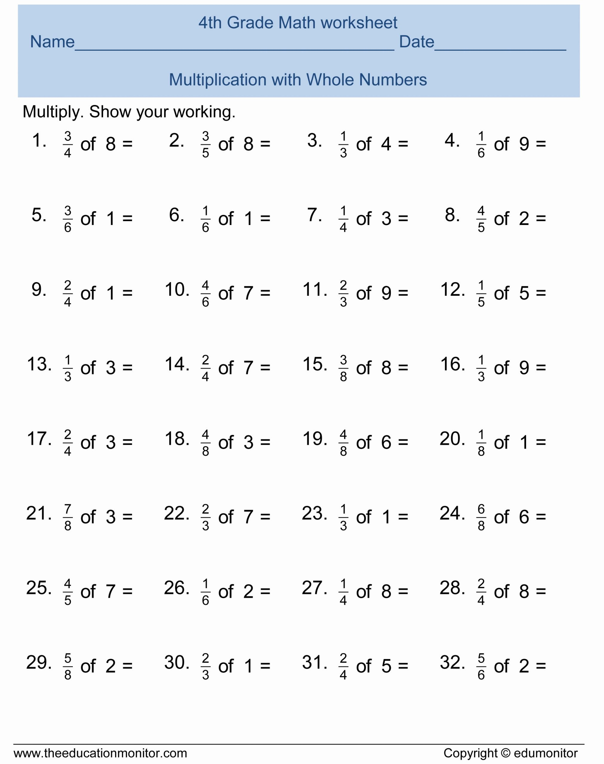 Math 4th Grade Multiplication Worksheets Best Of Printables Free Printable Math Worksheets for 4th Grade