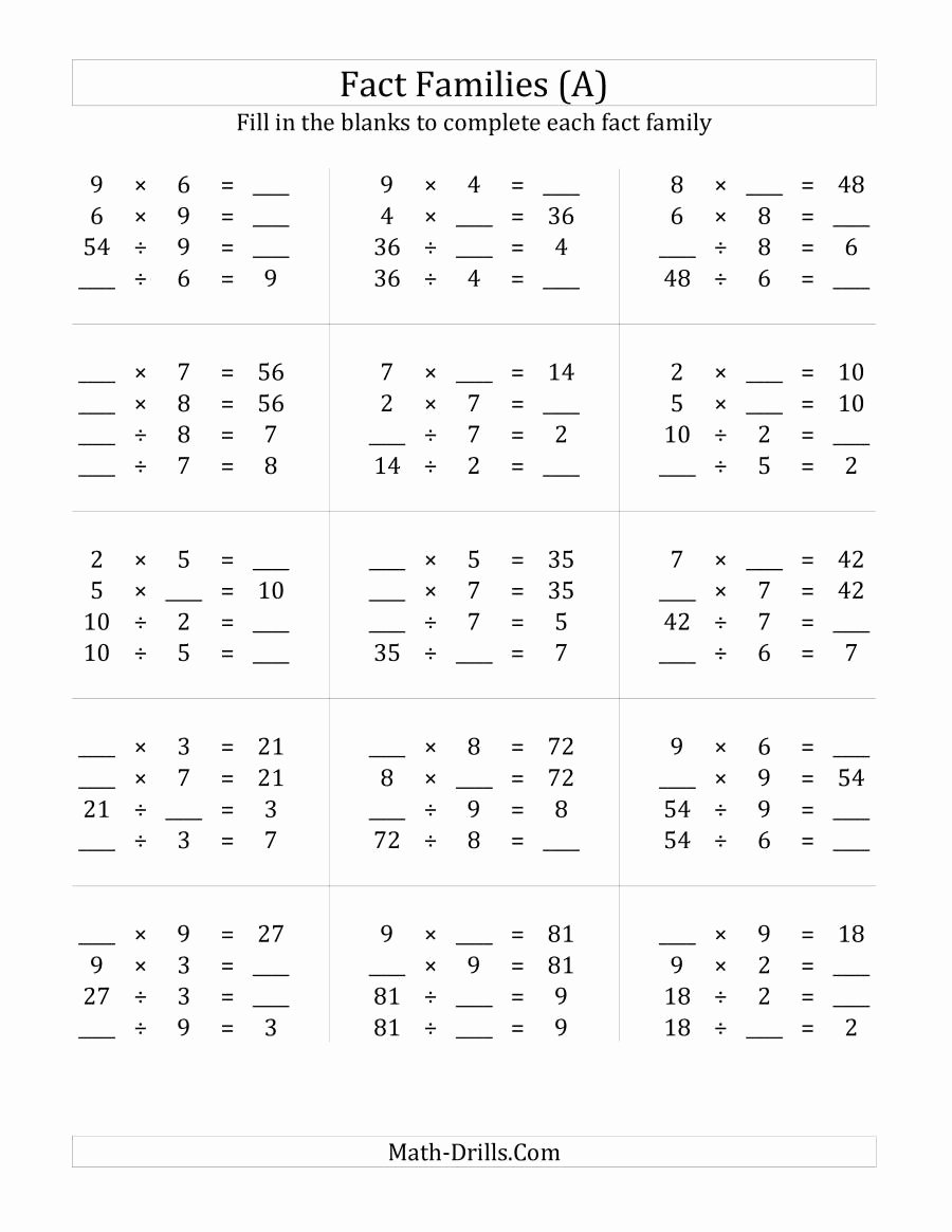 Math Division and Multiplication Worksheets Unique Multiplication and Division Relationships with Products to
