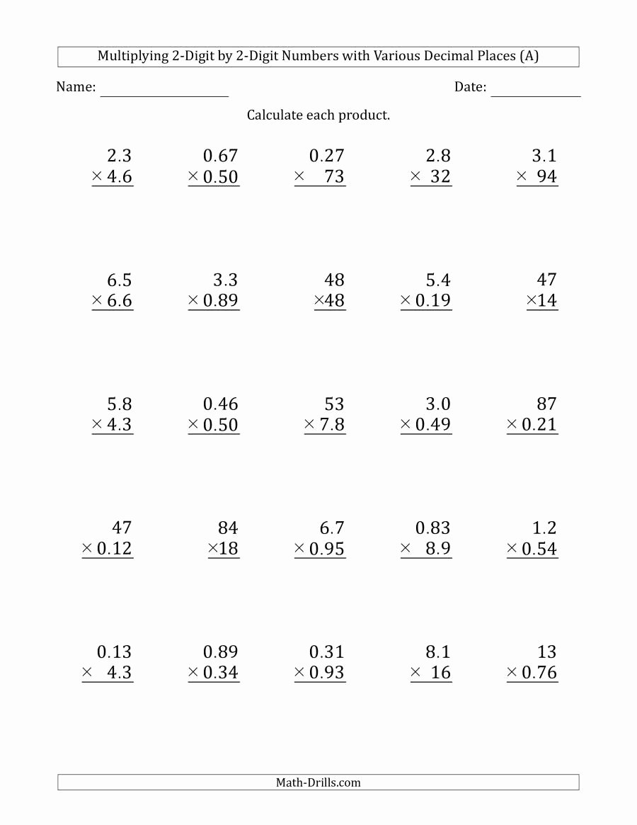 Math Double Digit Multiplication Worksheets Best Of Multiplying 2 Digit by 2 Digit Numbers with Various Decimal