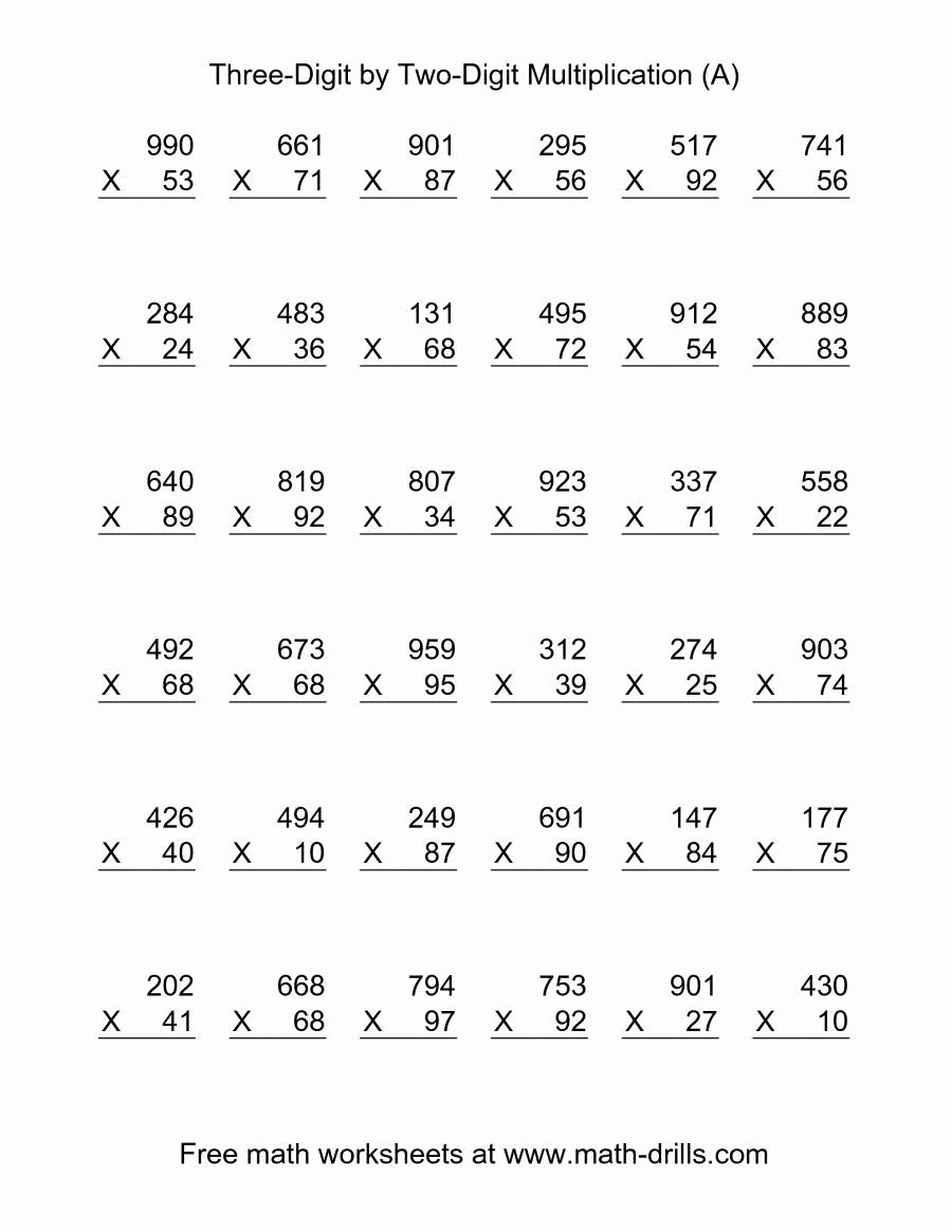 Math Double Digit Multiplication Worksheets Fresh the Multiplying Three Digit by Two Digit 36 Per Page A