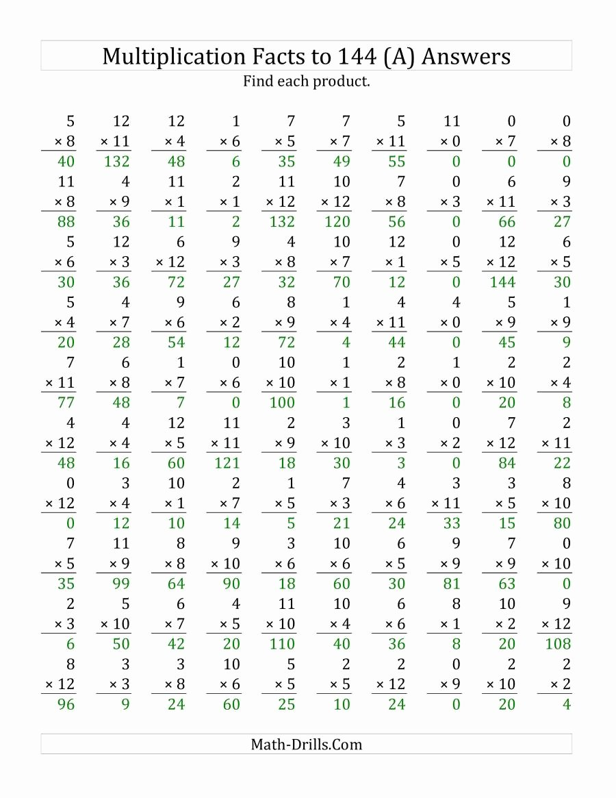 Math Drills Multiplication Worksheets Unique Multiplication Facts to 144 Including Zeros A