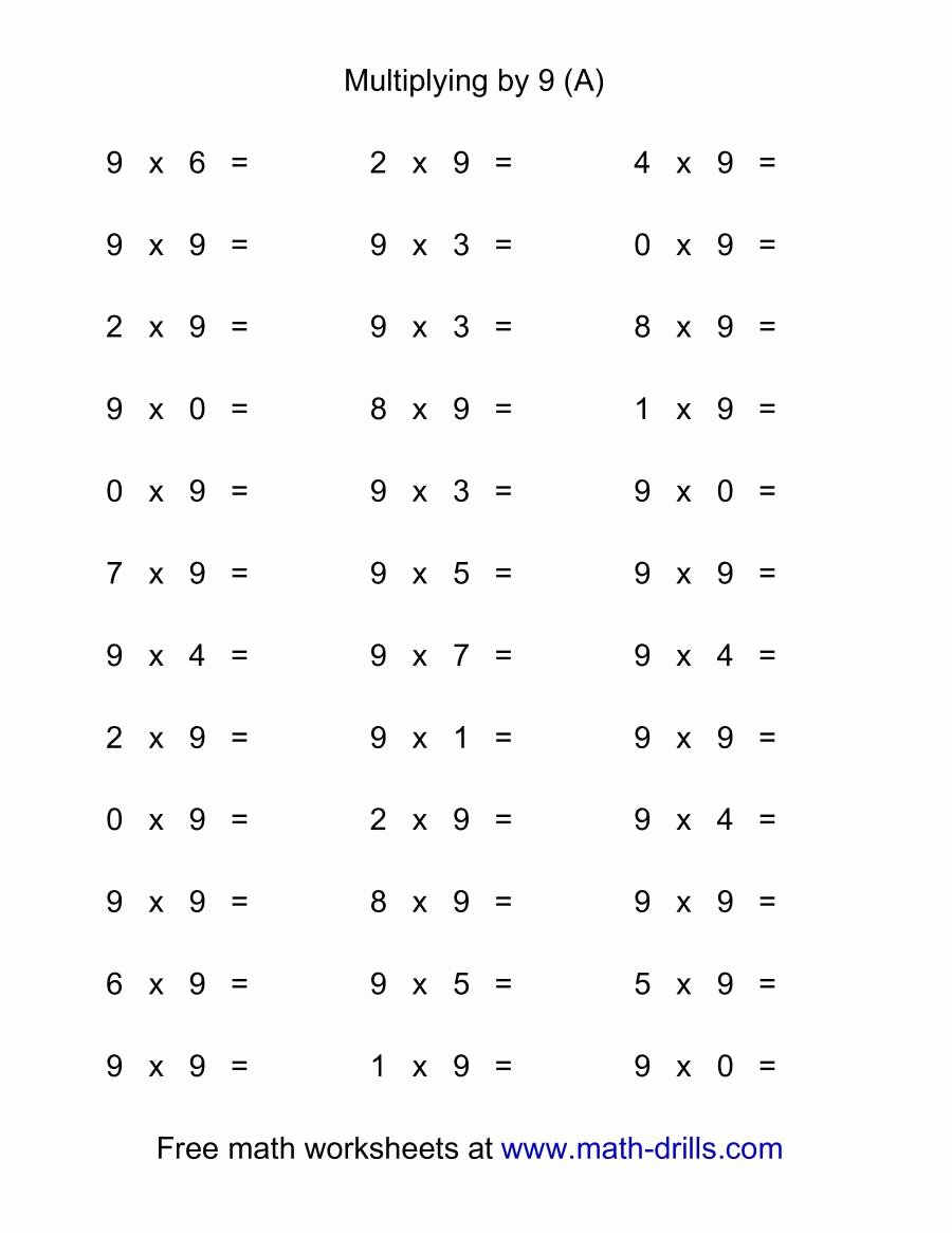 Math Facts Multiplication Worksheets Awesome 36 Horizontal Multiplication Facts Questions 9 by 0 9 A