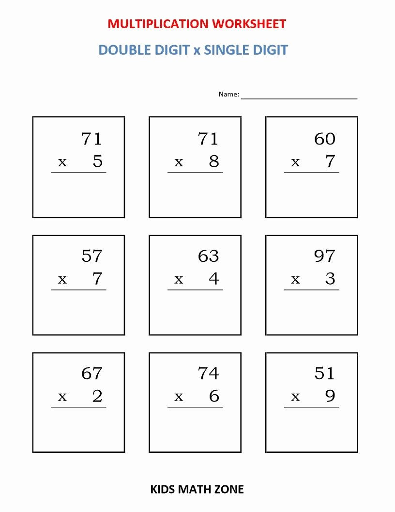 Math Grade 3 Multiplication Worksheets Best Of Multiplication Double Digit X Single Digit 10 Printable