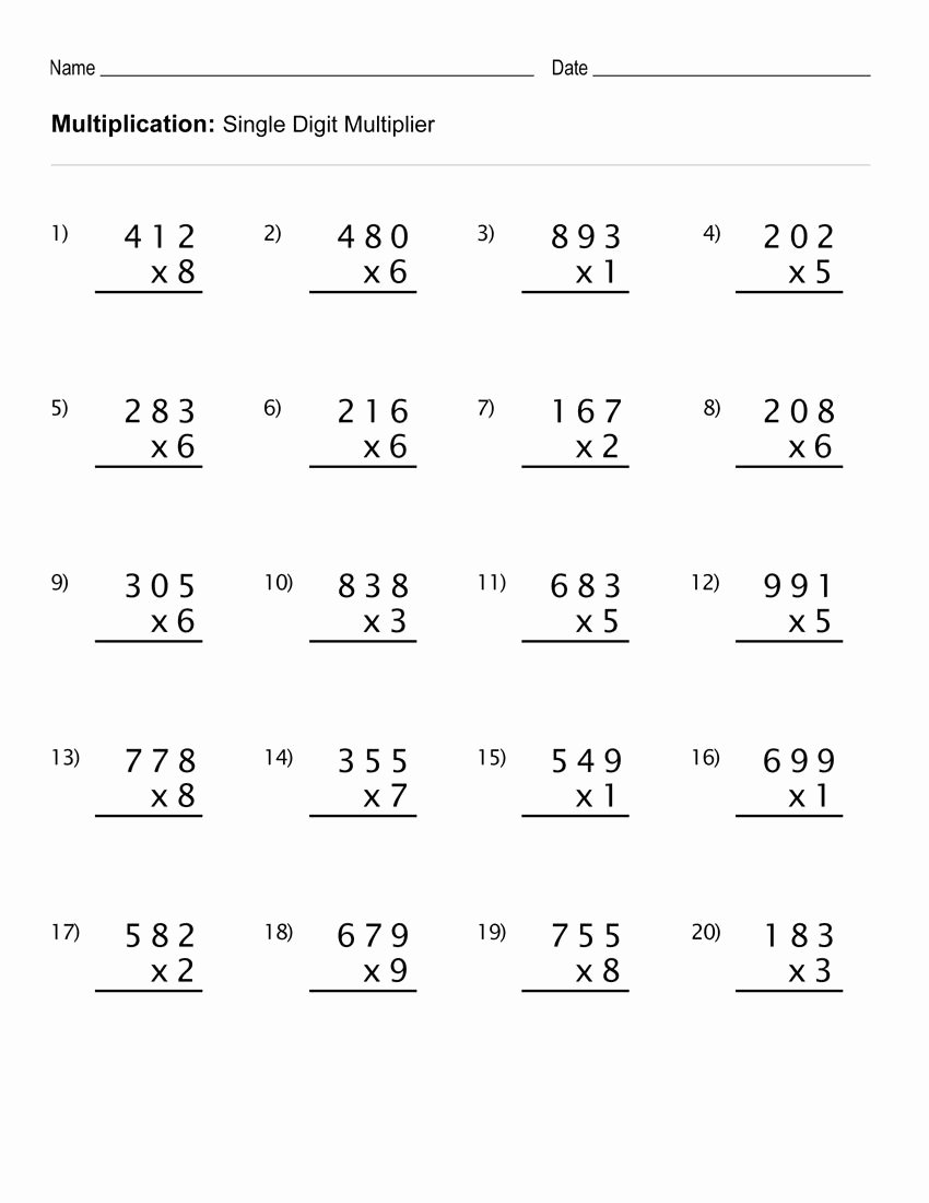 Math Multiplication Worksheets 3rd Grade Unique 4th Grade Multiplication Worksheets Best Coloring Pages