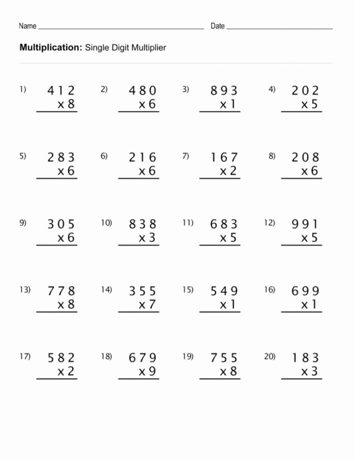 Math Multiplication Worksheets New 4th Grade Multiplication Worksheets with Exam Tutor