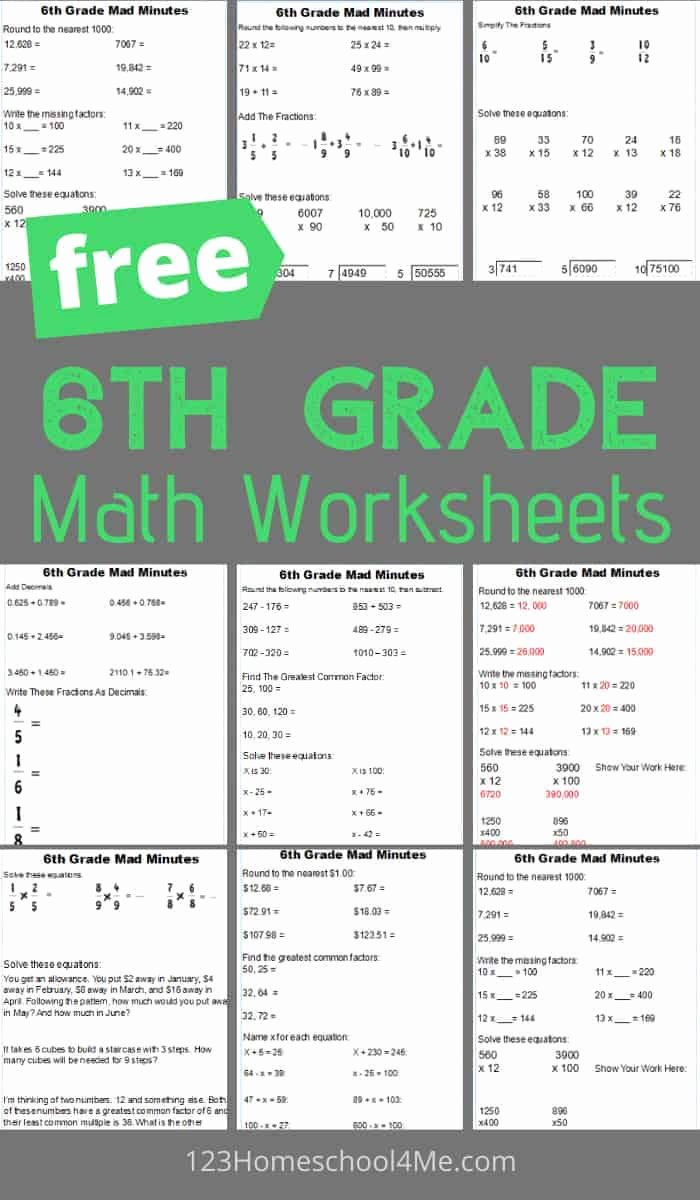 Maths Multiplication Worksheets Awesome Free 6th Grade Math Worksheets