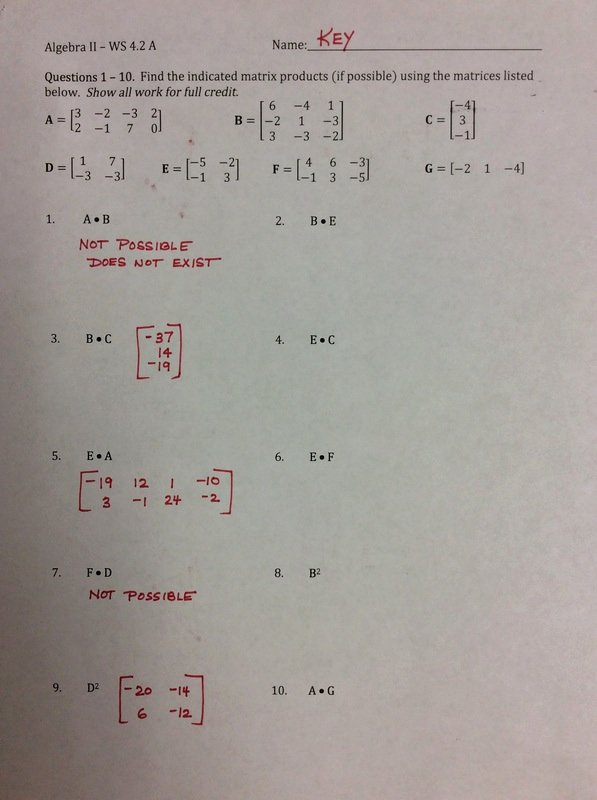 Matrix Multiplication Worksheets Awesome Chapter 4 Mrs Krull S Classroom