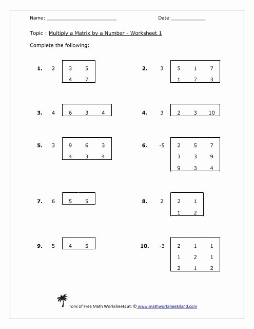 Matrix Multiplication Worksheets New Multiply A Matrix by A Number Five Pack Math Worksheets Land