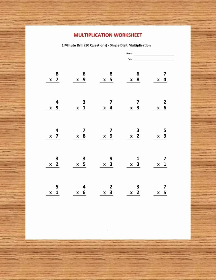 Minute Multiplication Worksheets Awesome 1 Minute Multiplication Worksheets