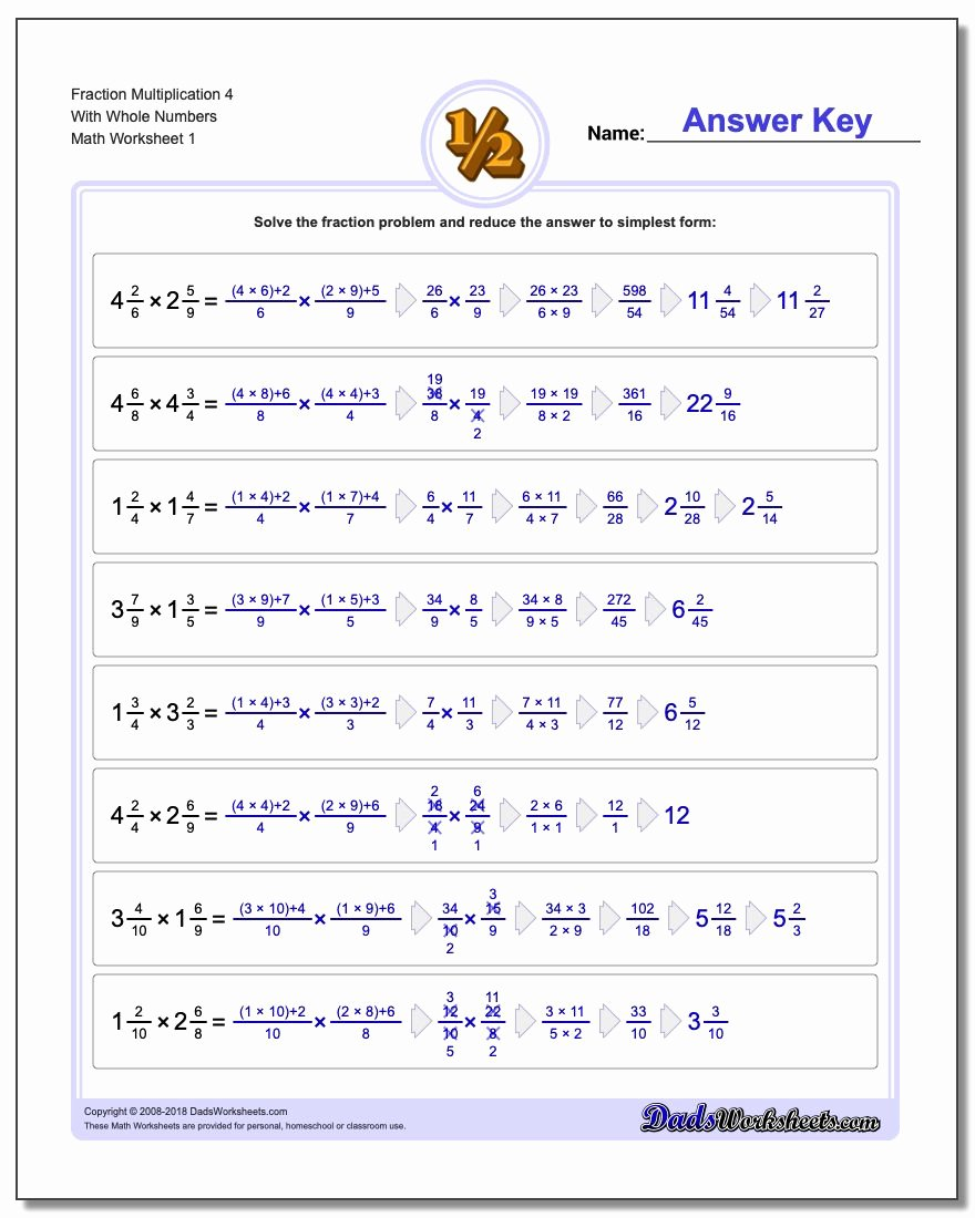 Mixed Fraction Multiplication Worksheets Awesome Fraction Multiplication with wholes