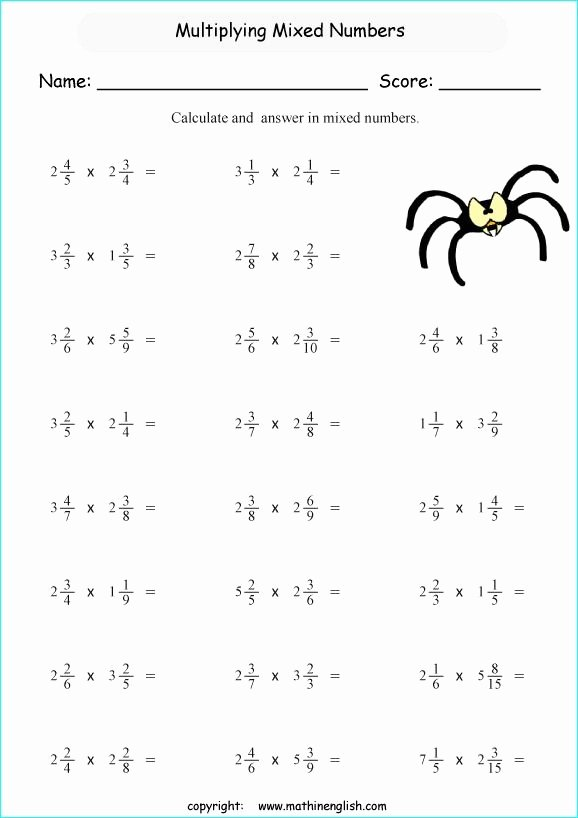 Mixed Fraction Multiplication Worksheets Awesome Multiplying Mixed Fractions Worksheets