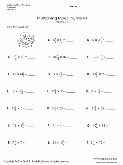 Mixed Fraction Multiplication Worksheets Awesome Multiplying Mixed Numbers Worksheets 1 and 2
