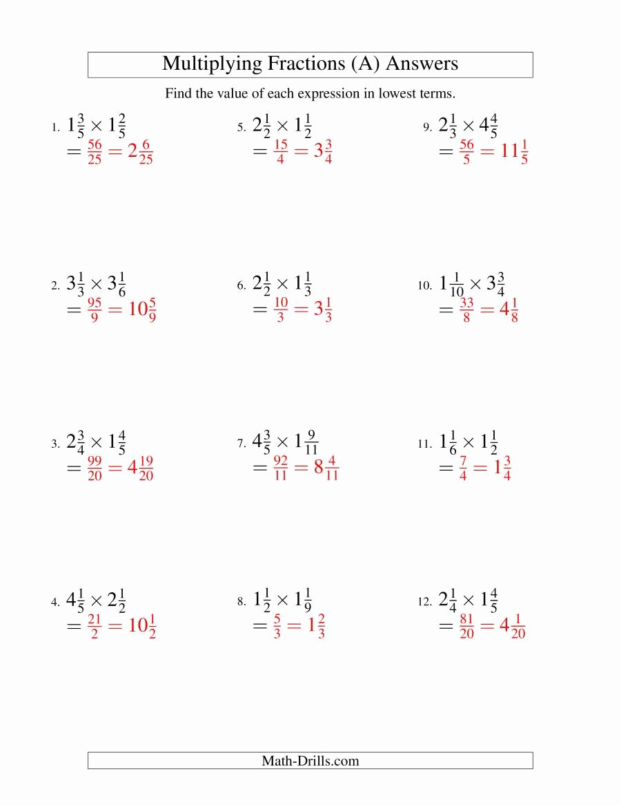 Mixed Fractions Multiplication Worksheets Awesome Multiplying and Simplifying Mixed Fractions A