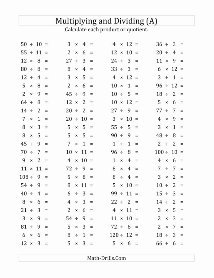 Mixed Multiplication Worksheets top Horizontal Multiplication Division Questions Facts to and