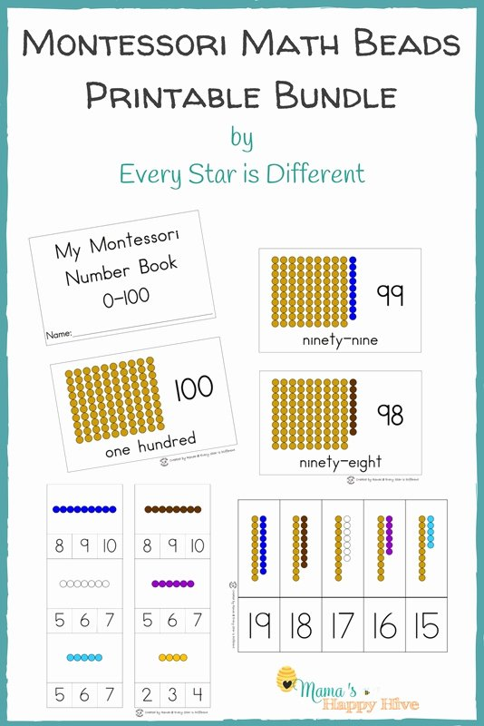 Montessori Multiplication Worksheets Best Of Montessori Math Beads Bar Printable Bundle with Numbers 0 100