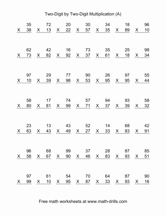 multiplying two digit by per math worksheets double multiplication mult pin 692x896