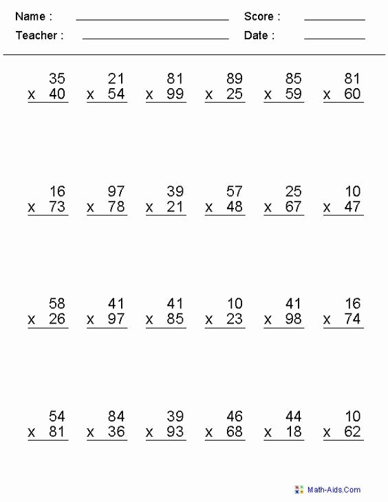 Multi Digit Multiplication Worksheets Lovely Multiplication Worksheets