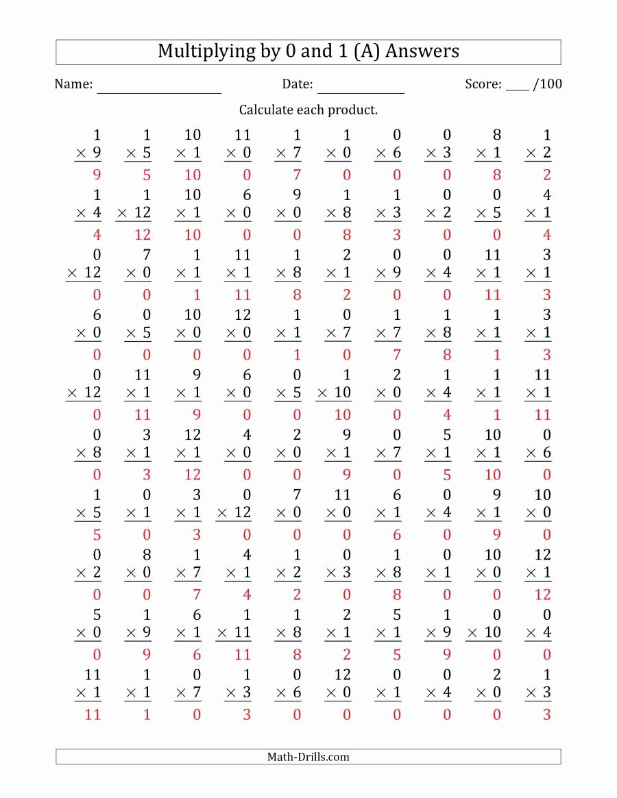 Multiplication Worksheets 0 and 1 Best Of Multiplying by 0 and 1 with Factors 1 to 12 100 Questions A