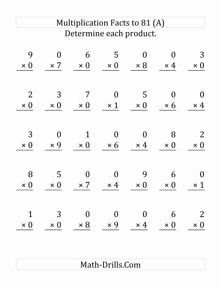 Multiplication Worksheets 0 and 1 Unique Multiplication by 9 Worksheets