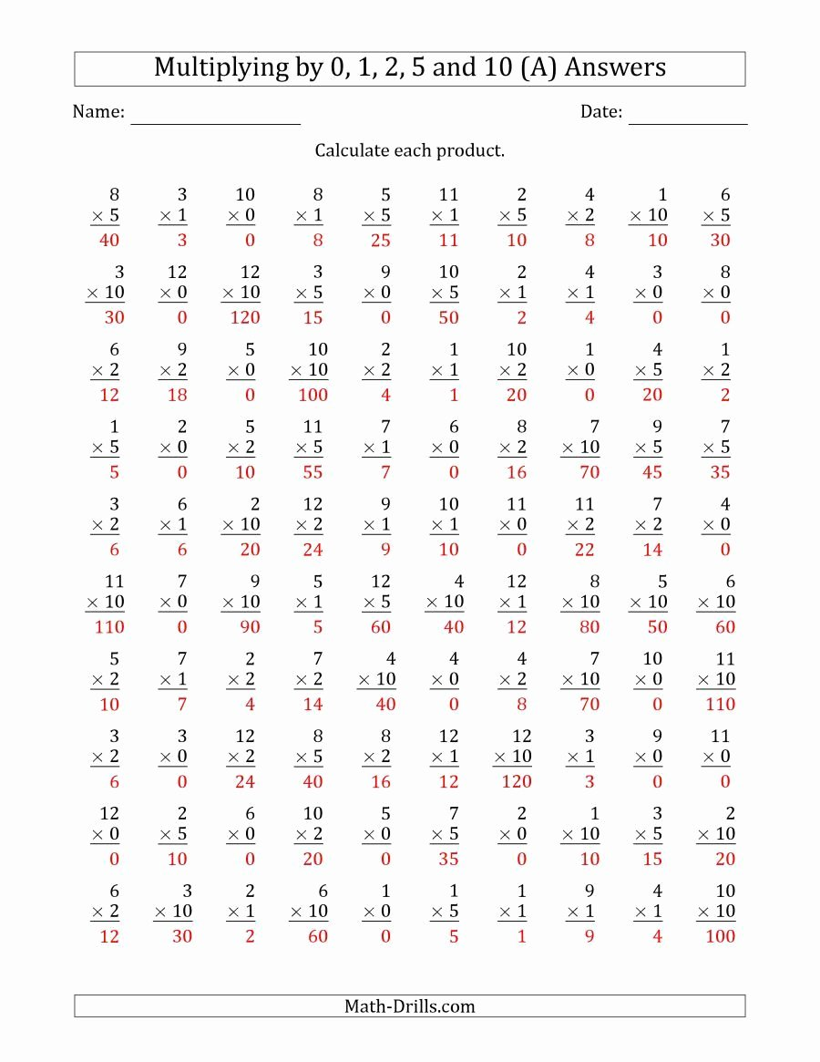 Multiplication Worksheets 1 5 Fresh the Multiplying by Anchor Facts 0 1 2 5 and 10 Other