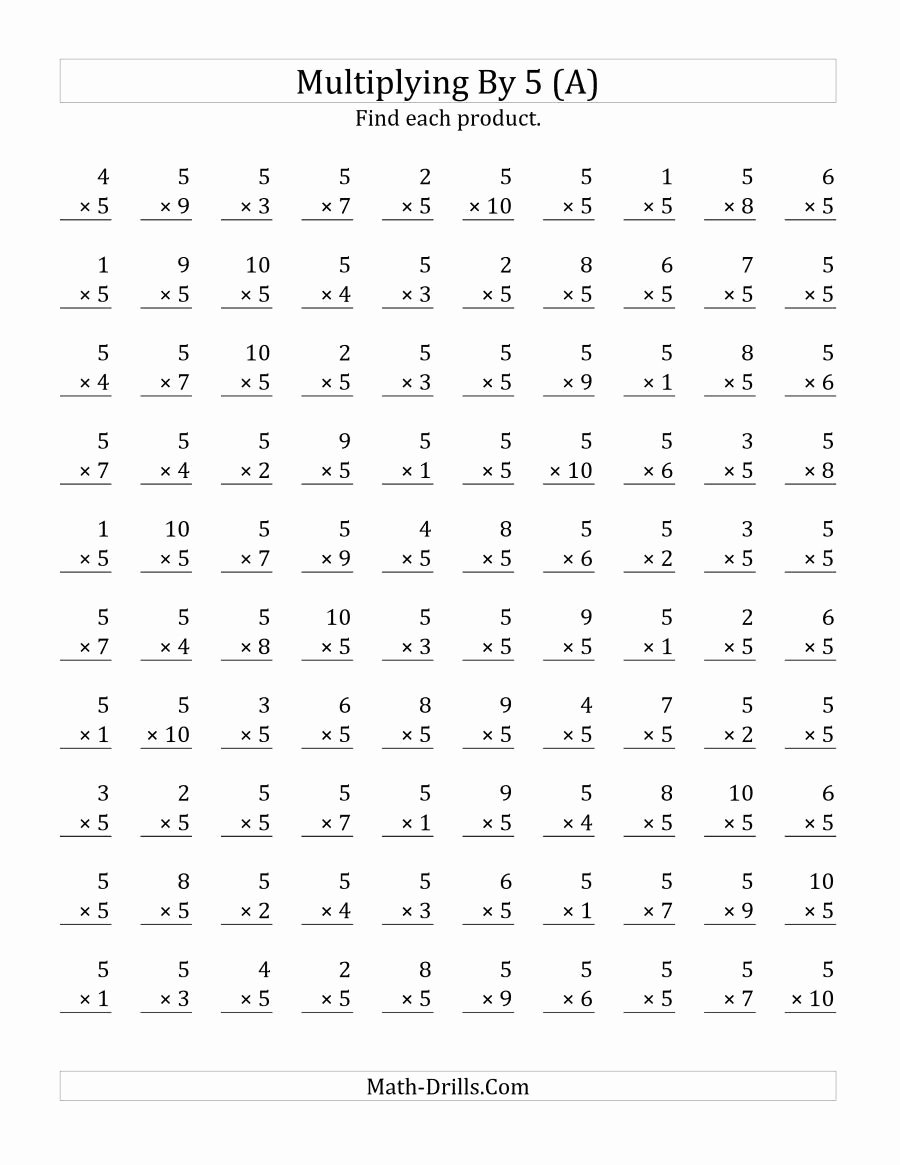 Multiplication Worksheets 1 5 New the Multiplying 1 to 10 by 5 A Math Worksheet From the