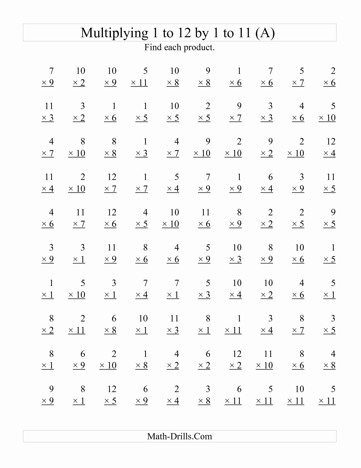 Multiplication Worksheets 1 Unique the 100 Vertical Questions Multiplying 1 to 12 by 1 to 11