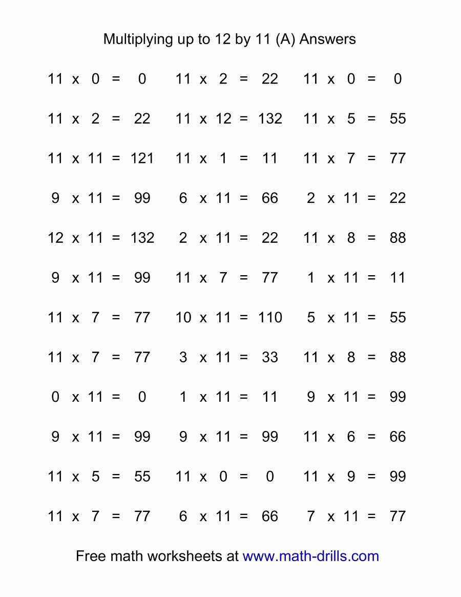 Multiplication Worksheets 11 Awesome 36 Horizontal Multiplication Facts Questions 11 by 0 12 A