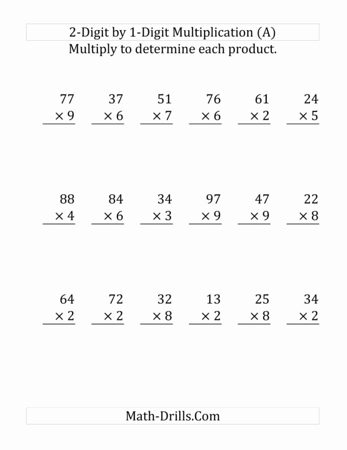 Multiplication Worksheets 2 Digit by 1 Inspirational Multiplying Digit Number by Print Multiplication