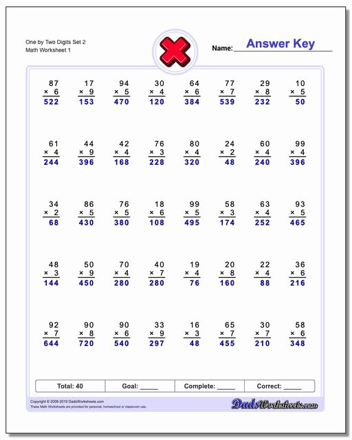 Multiplication Worksheets 2 Digit by 1 New Multiple Digit