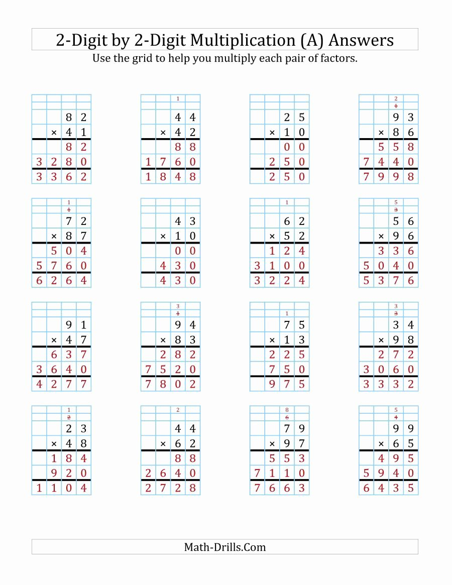 Multiplication Worksheets 2 Digit by 2 Digit Best Of the 2 Digit by 2 Digit Multiplication with Grid Support A