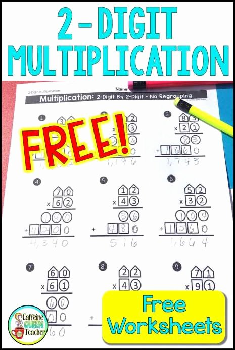 Multiplication Worksheets 2 Digit by 2 Digit Fresh 2 Digit Multiplication Worksheets Differentiated Caffeine