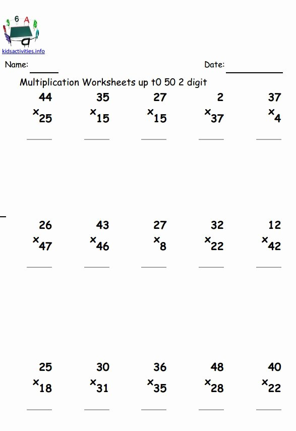 Multiplication Worksheets 2 Digit by 2 Digit Lovely Multiplication Math Worksheet 4th Grade