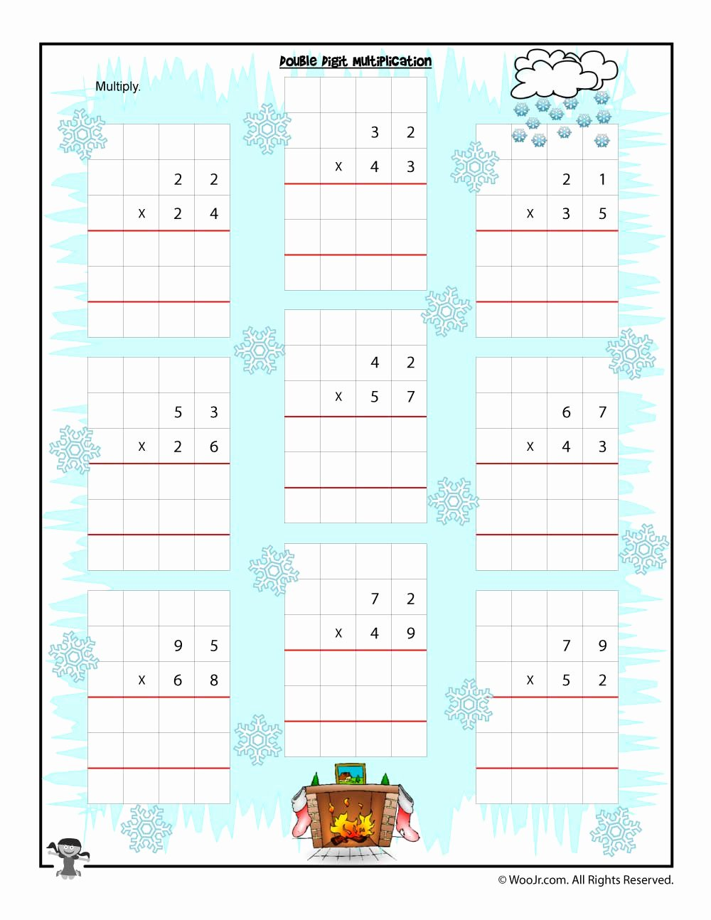 Multiplication Worksheets 2 Digit by 2 Digit top 2 Digit Multiplication Christmas Worksheets First Grade