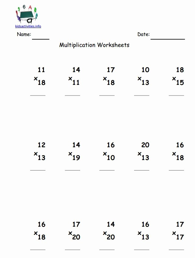 Multiplication Worksheets 2 Digit Lovely Multiplication Math Worksheet 4th Grade
